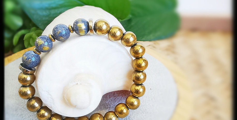 Bracelet femme en hématites dorées et jade tonnerre