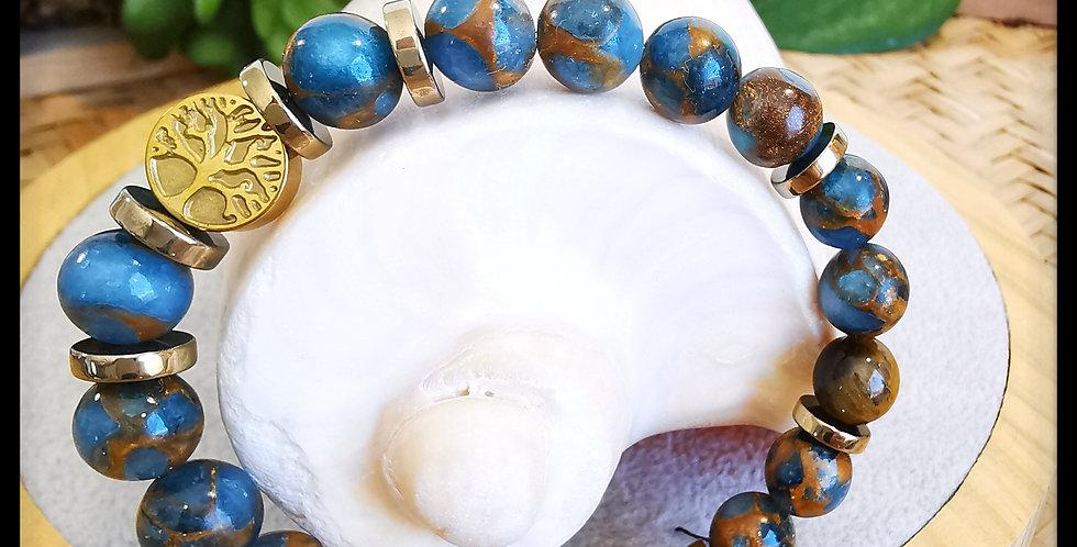 Bracelet, femme, en pierres de Quartz bleu azur
