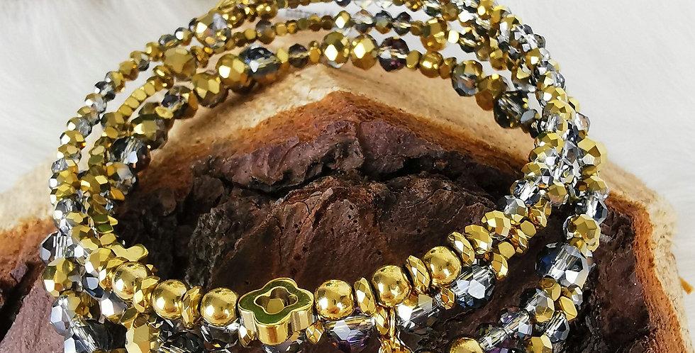 Bracelet multirangs, Hélène, doré bronze