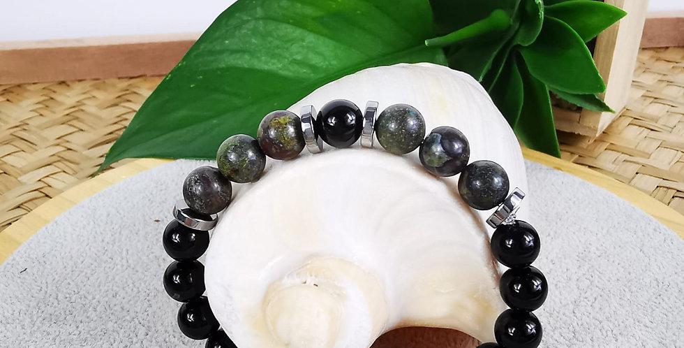 Bracelet, mixte, en pierre d Onyx noires et Jaspe crocodile