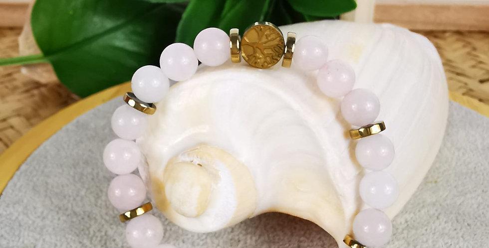 Bracelet en quartz rose et hématites dorées