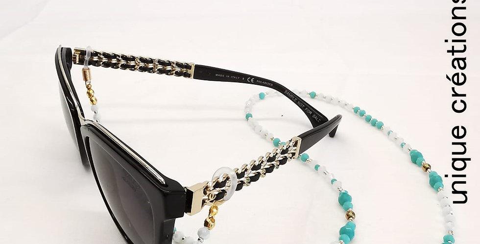 Cordon lunettes pierre de cristal et hématites