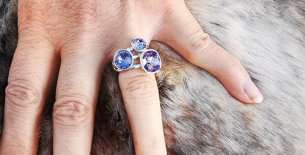 Bague Cristaux Swarovski 3 cristaux mauves