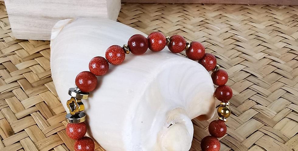 Bracelet femme en pierres de soleil et hématites dorées