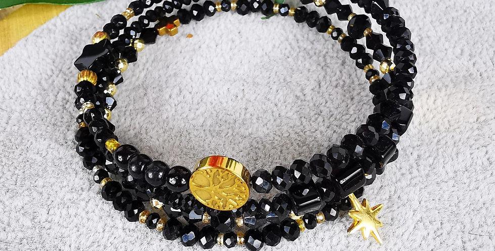 Bracelet multi-rangs HELENE noir et or