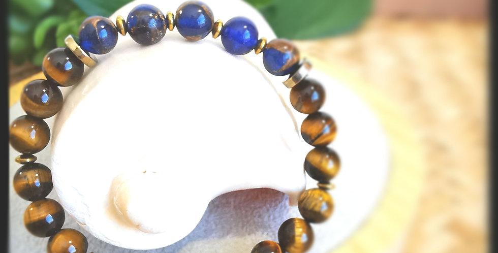 Bracelet, homme, en pierre œil de tigre et quartz bleu