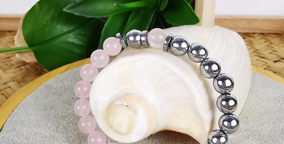 Bracelet en Quartz rose et hématites argentées