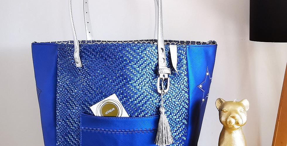 "Sac cabas réversible, modèle Valy, collection ""Blue Day *"