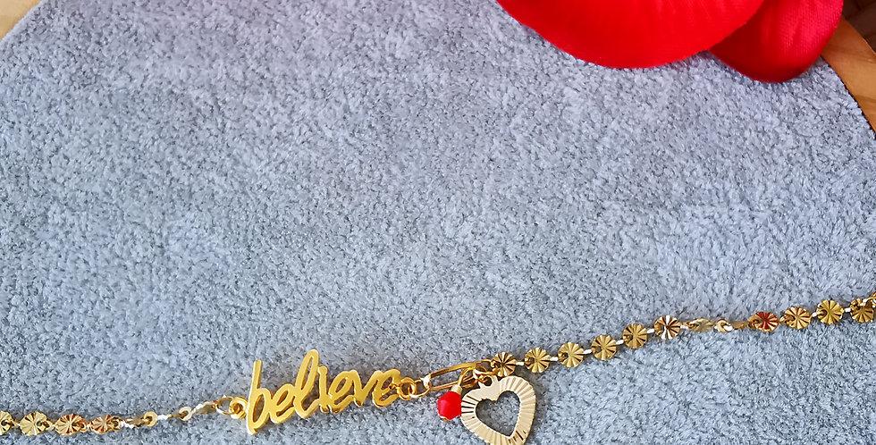 Bracelet en acier inoxydable doré, Believe,