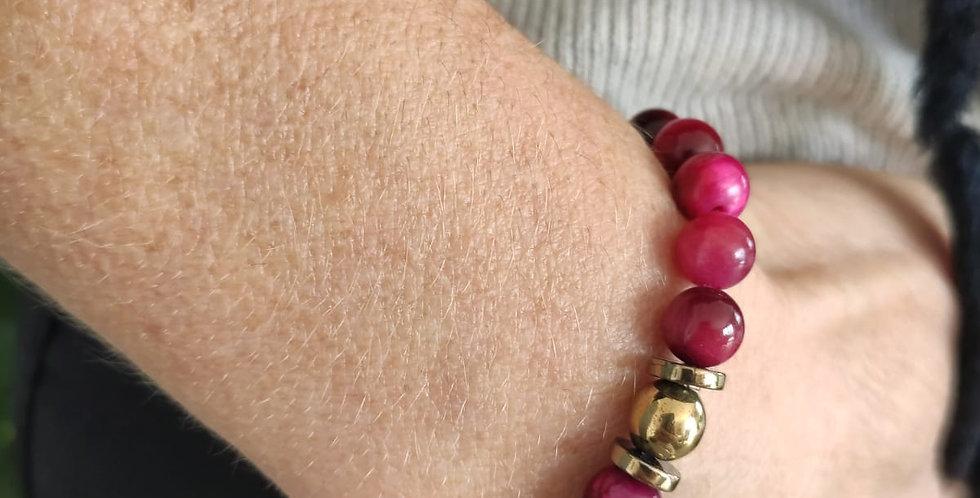 Bracelet femme en Oeil de tigre fushia