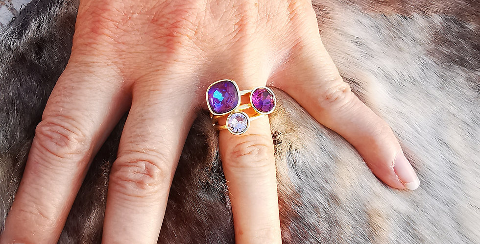Bague Cristaux Swarovski 3 cristaux violet