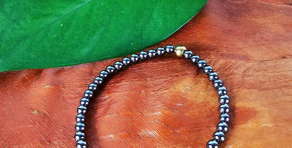 Bracelet hématites gris anthracite et dorées