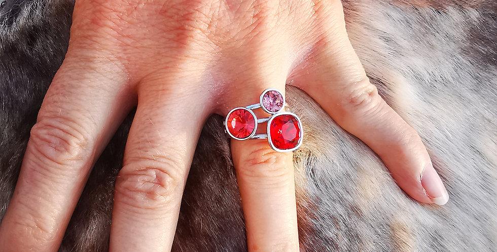 Bague Cristaux Swarovski 3 cristaux rouges