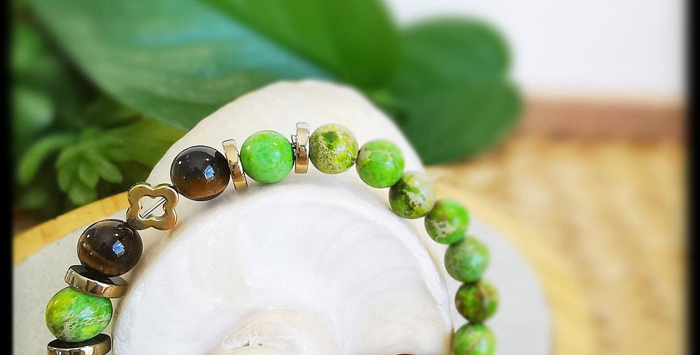 Bracelet, femme, en pierres de Jaspe vert