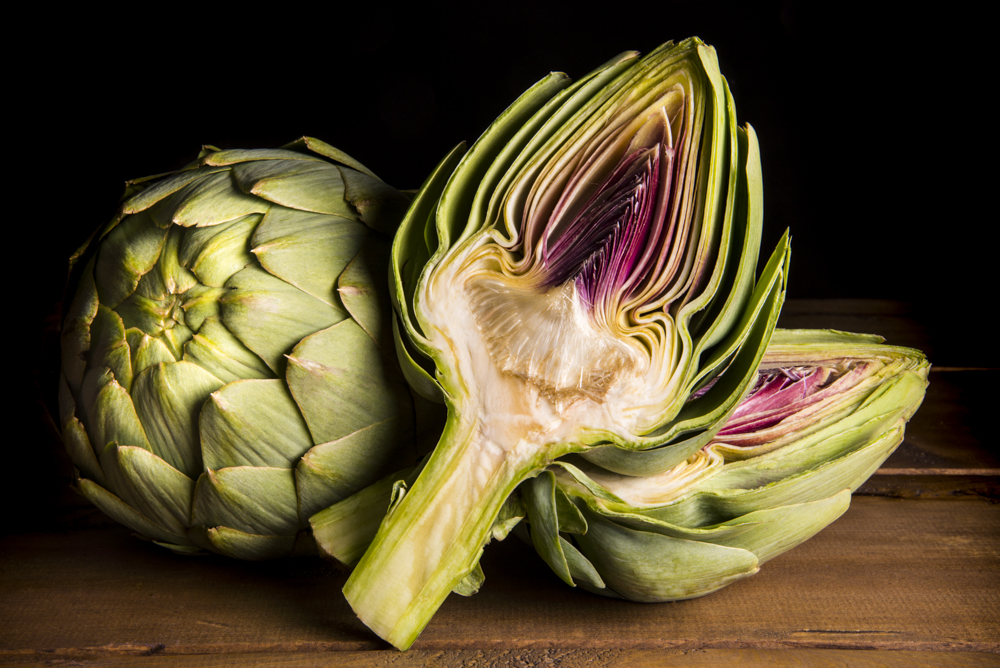 Inside an artichoke