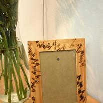 Wood Bruned rectangle line pattern frame