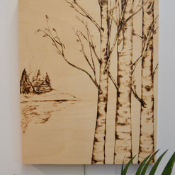 Cottage and trees wood burning.jpg