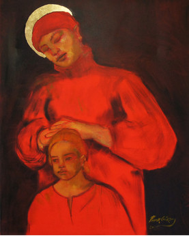 Woman with aureola and the child