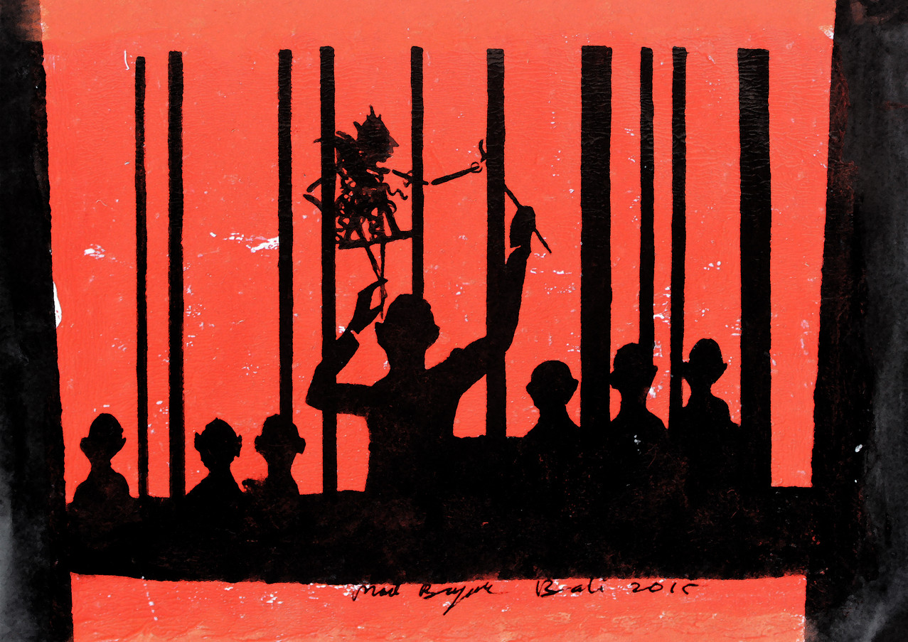 Shadow traped behind bars 30x40cm acryli