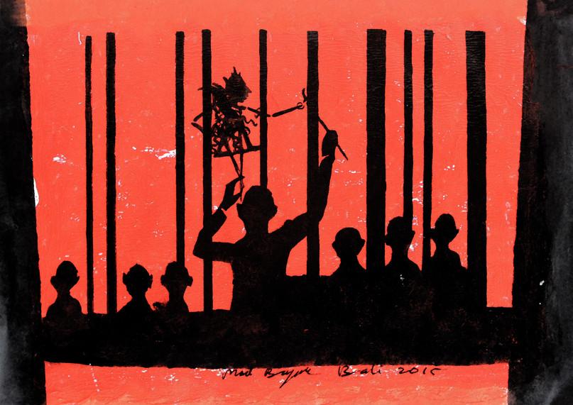 Shadow traped behind bars 30x40cm acryli
