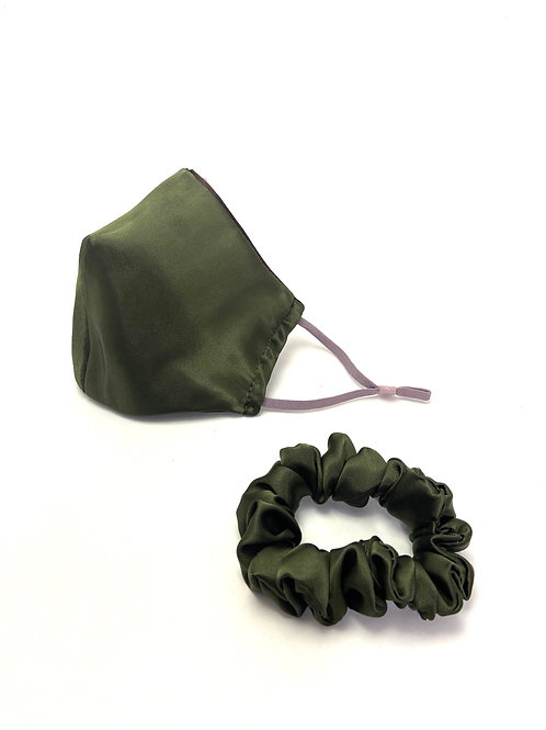 Army Green Mask and Scrunchie Set