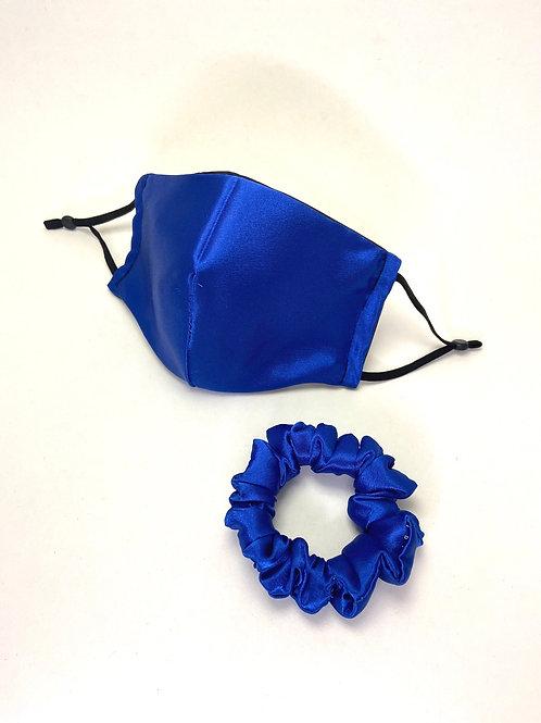 Royal Blue Satin Mask and Scrunchie Set