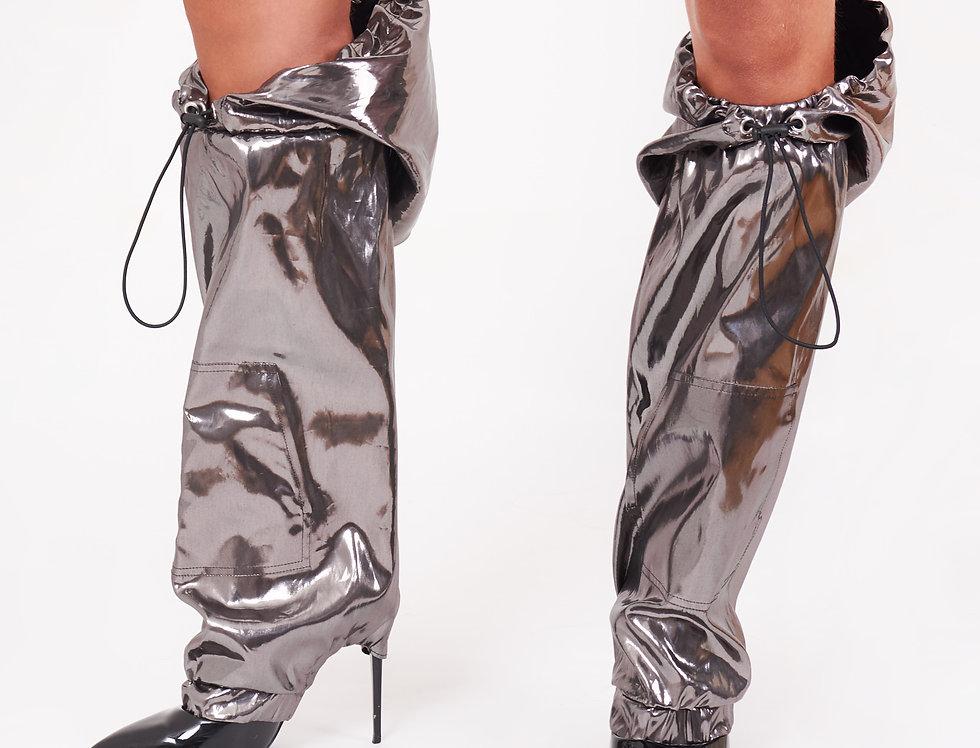 Silver nylon leg warmers