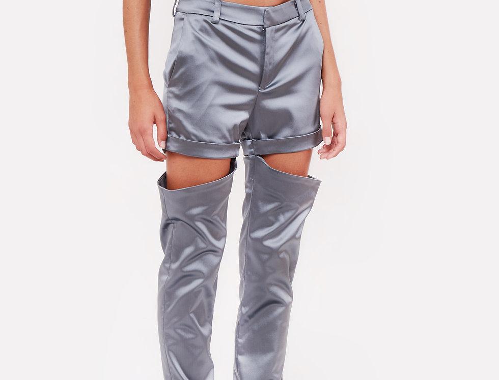 Shiny nylon cut trousers