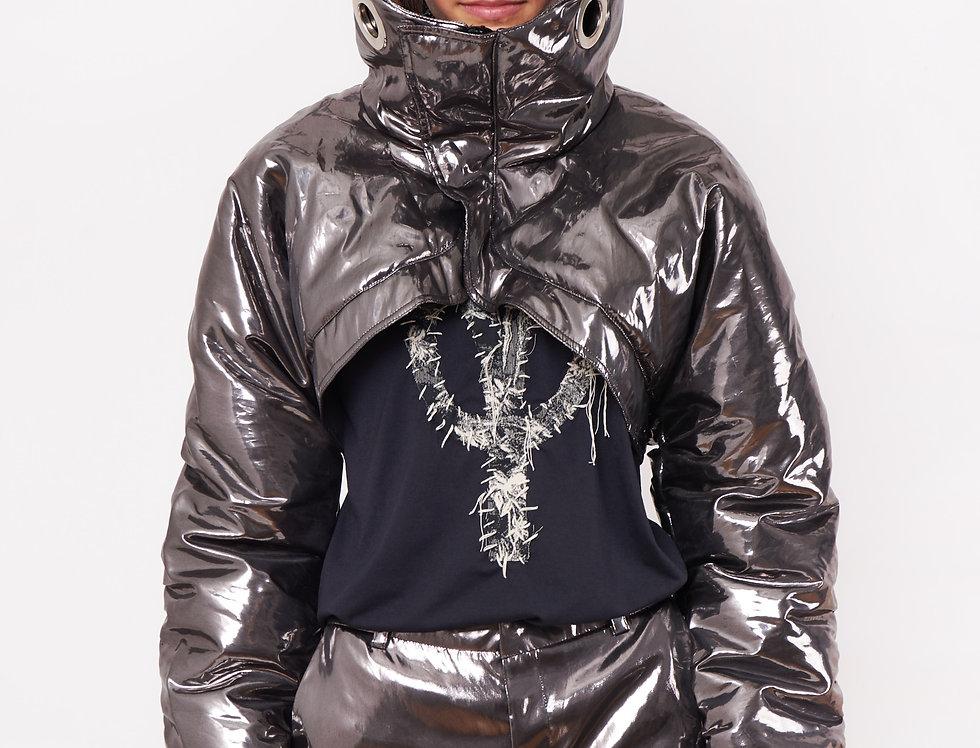 Silver nylon crop jacket
