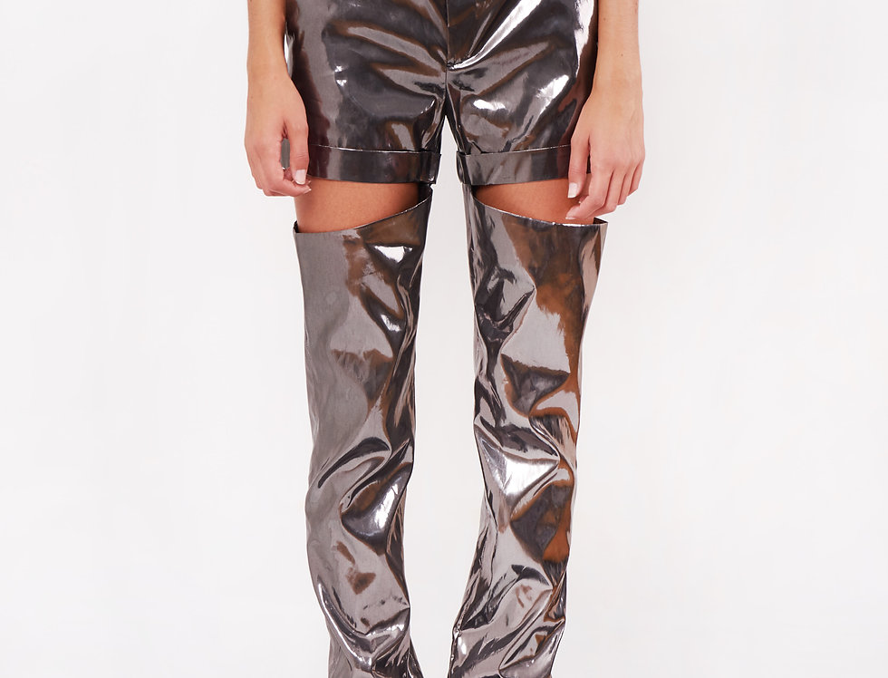 Silver nylon cut trousers