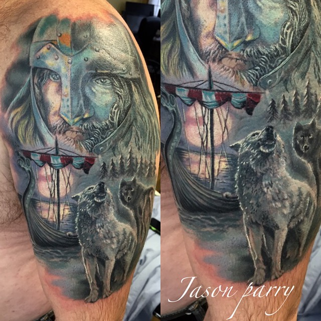viking wolf tattoo jason parry