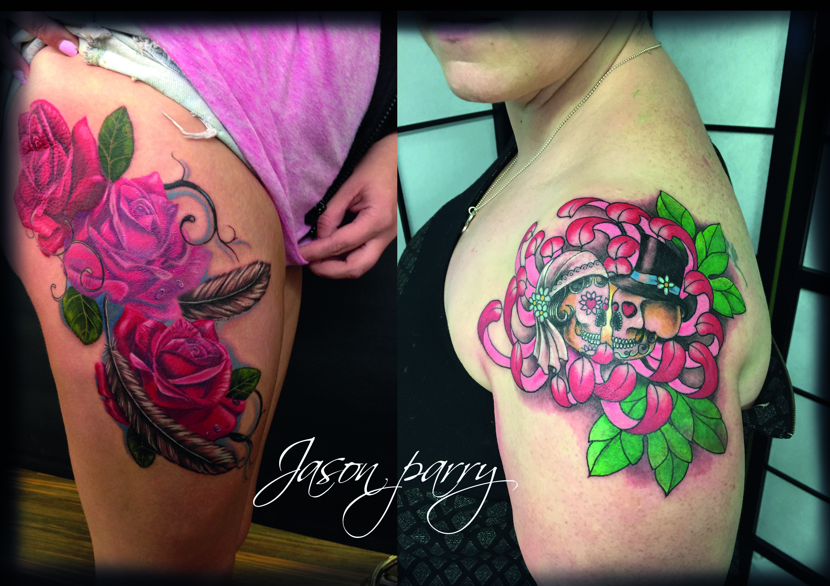 chrysanthemum and roses tattoo jason parry.jpg
