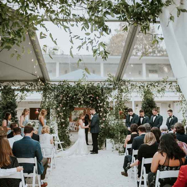 Ceremony in tent with clear top