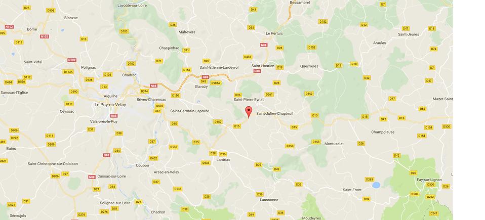 carte routière accès au cabinet de Sandra Gire La Paravent 43260 Saint-Pierre Eynac