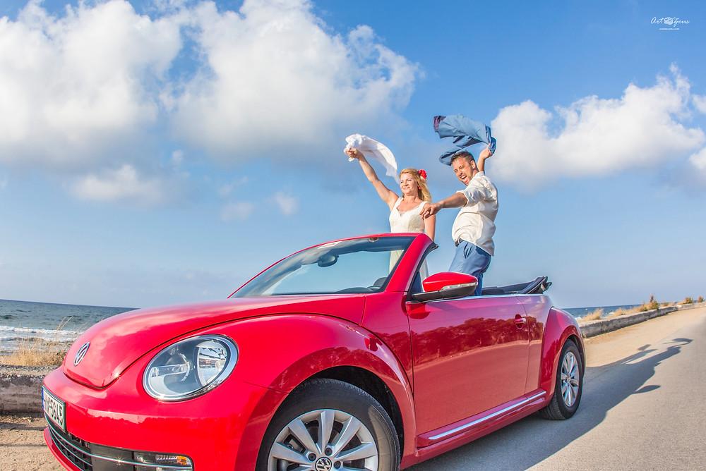 Свадьба на Крите и кабриолет Volkswagen New Beetle