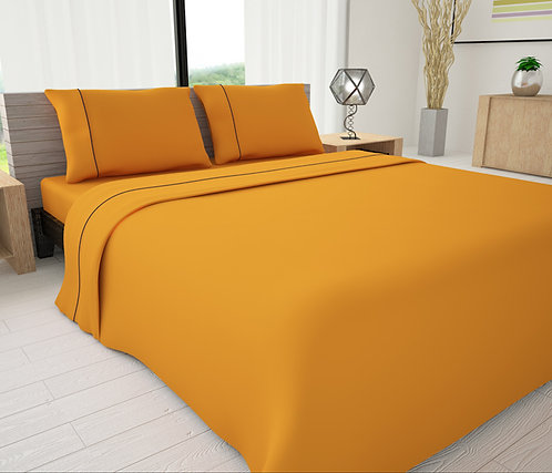 Yellow Solid Piping Sheet Set - Novelty Bedding Wholesale (6 Sets in a Box)