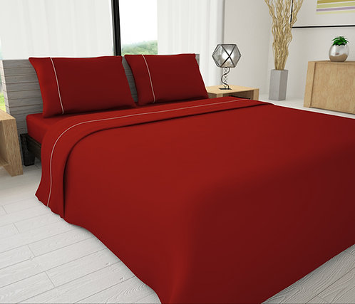 Red Solid Piping Sheet Set - Novelty Bedding Wholesale (6 Sets in Case Pack)