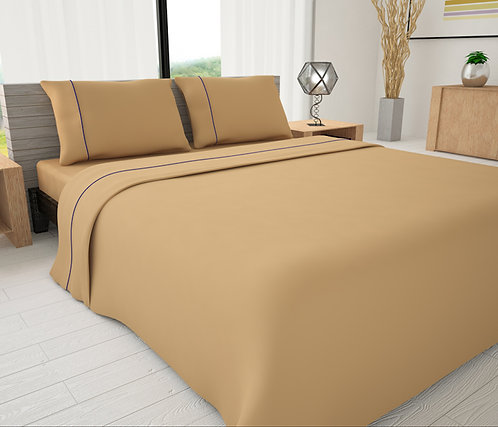 Tan Solid Piping Sheet Set - Novelty Bedding Wholesale (6 Sets in Case Pack)