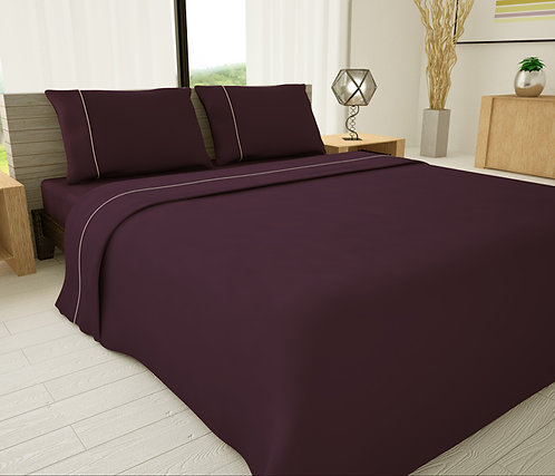 Purple Solid Piping Sheet Set - Novelty Bedding Wholesale (6 Sets in Case Pack)
