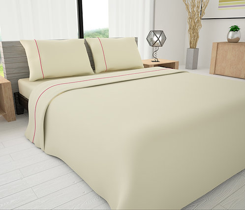 Ivory Solid Piping Sheet Set - Novelty Bedding Wholesale (6 Sets in Case)