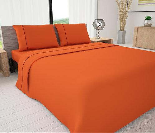 Orange Solid Piping Sheet Set - Novelty Bedding Wholesale (6 Sets in Case)