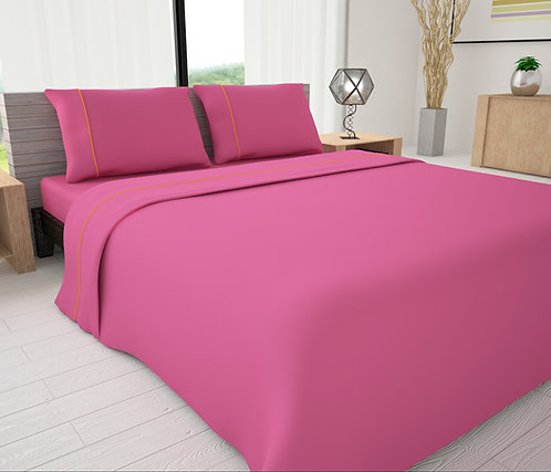 Fuchsia Solid Piping Sheet Set - Novelty Bedding Wholesale (6 Sets in Case Pack)