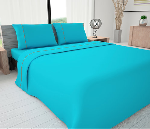 Turquoise Solid Piping Sheet Set - Novelty Bedding Wholesale (6 Sets in a Box)