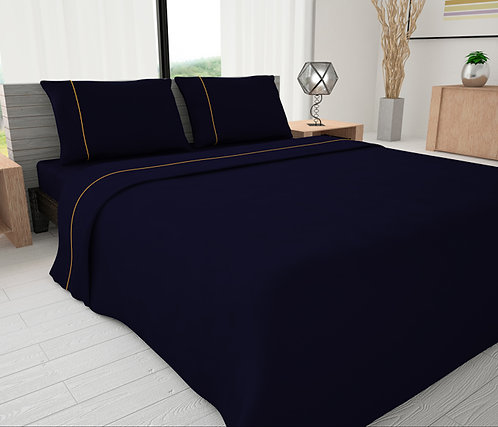Oxford Blue Solid Piping Sheet Set - Novelty Bedding Wholesale (6 Sets in Case)