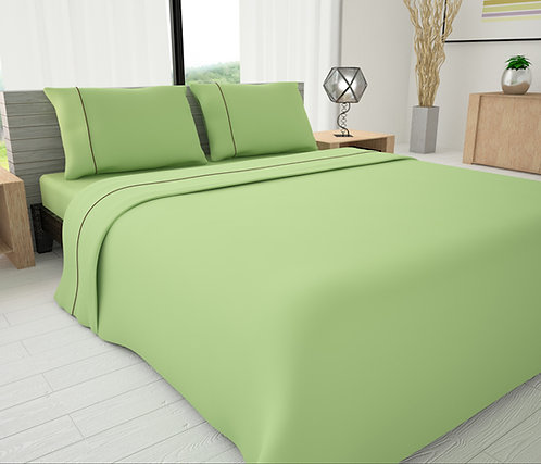 Green Solid Piping Sheet Set - Novelty Bedding Wholesale (6 Sets in Case Pack)