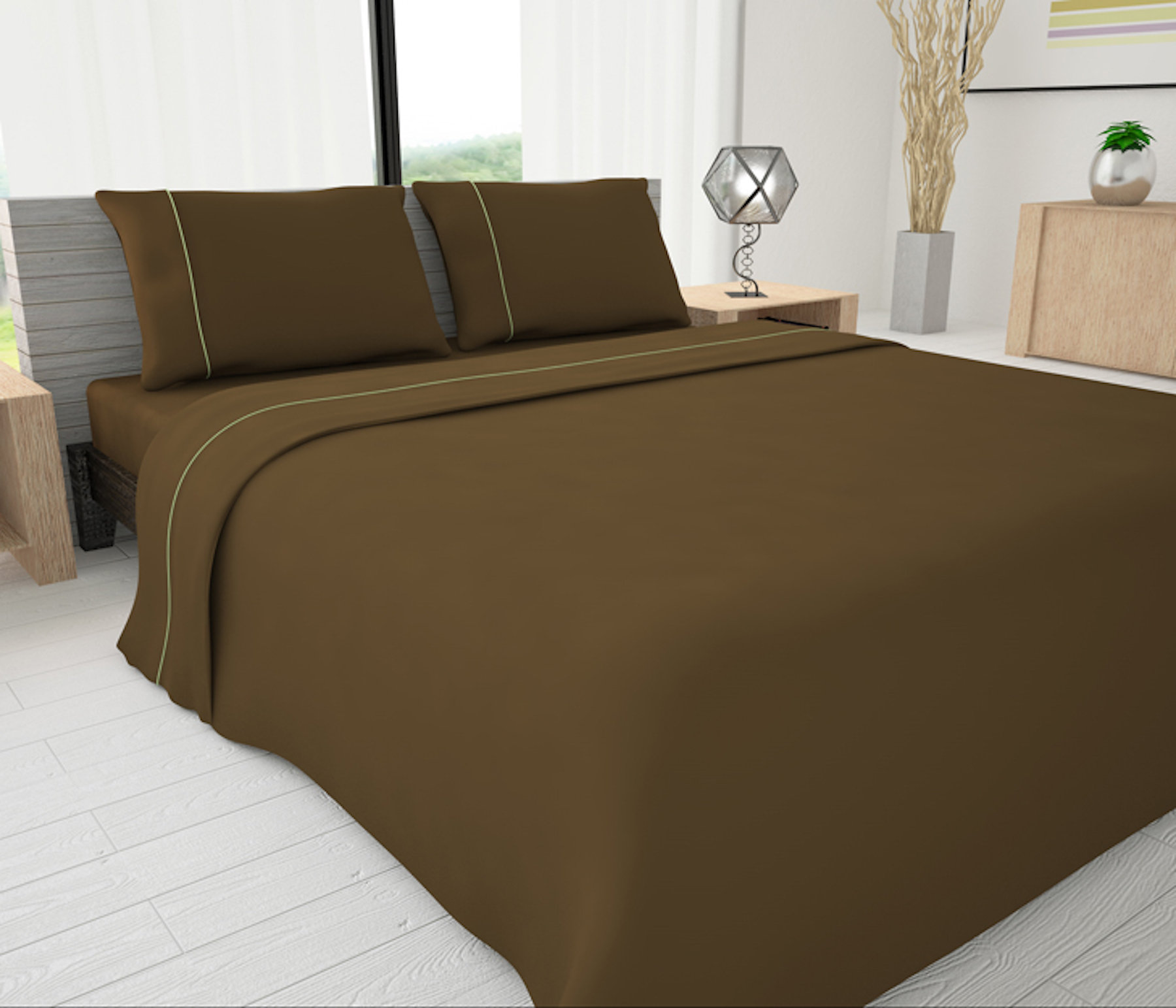 Mocha Solid Piping Sheet Set   Novelty Bedding Wholesale (6 Sets In Case