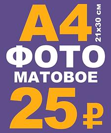 распечатка цветного фото А4 21х30 см на матовой фотобумаге 200 гр/м2 - 25 р.