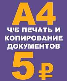 печать документа А4 ч/б 5р. *при печати фото документа ч/б 10р.