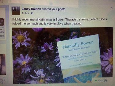 Kathryn Kerr Bowen Technique  testimonial