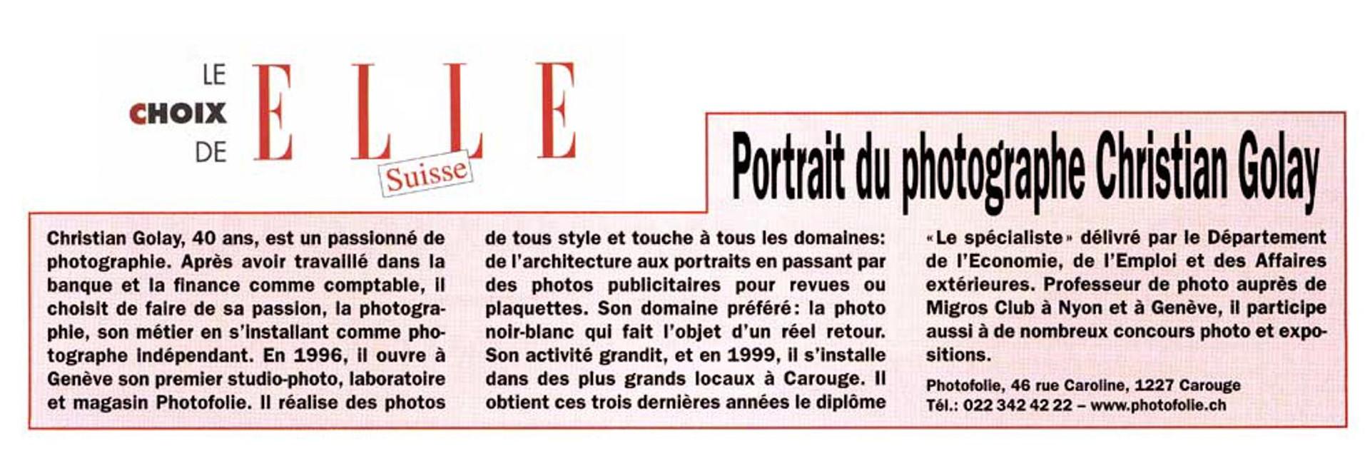 Journal Elle Suisse